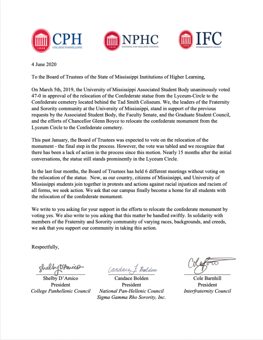 College Panhellenic, National Pan-Hellenic Council and Interfraternity Council statement to the IHL Board of Trustees, written and signed by CPH president Shelby D'Amico, NPHC president Candace Bolden and IFC president Cole Barnhill. (1/4)