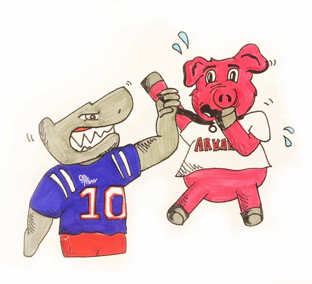 A shark mascot in the Ole Miss uniform holding up a Arkansas razorback mascot by the throat.
